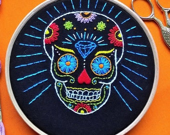 """Embroidery KIT -  hand embroidery kit -  embroidery hoop art - """"mexican Skull"""" - modern embroidery - needlepoint kits - DIY embroidery"""