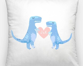 Dinosaur Pillow, Dinosaur Cushion, T-Rex, Couples Cushion, Dinosaur Personalized, Couples Gift, Wedding Gift, Anniversary, Gifts for him