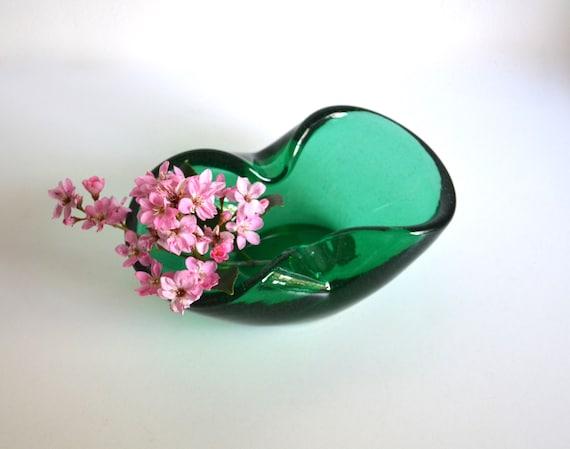 Vintage Green Glass Handblown Dish