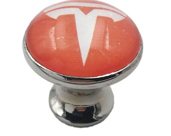 Tesla Red, White Glass Knob for Dresser Drawers, Cabinet Drawers, Kitchen Cabinets