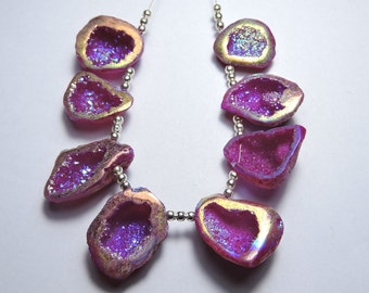 8 Pieces Extremely Beautiful Natural Sparkling Titanium Coated Pink Druzy Caves Beads Size 24X19 - 20X18 MM