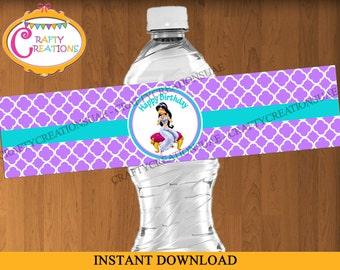 INSTANT DOWNLOAD - Princess Jasmine Water Bottle Labels -  Aladdin Jasmine Labels - Birthday - Party Decorations - Printables - CraftyUAE
