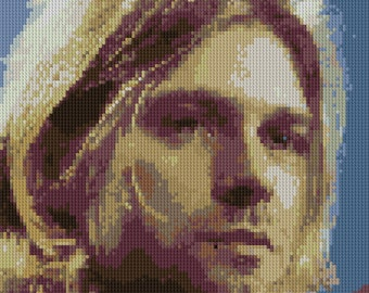 Kurt Cobain portrait counted Cross Stitch Pattern Iconic Musician Rock Star