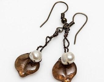 Brown Leaf Earrings, Brown Dangle Earrings, Golden Brown Dangle Earrings, Nature Jewelry