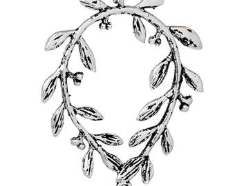 Laurel branch, antiqued silver brass jewelry connector