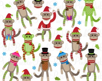 Christmas Sock Monkeys Clipart Clip Art Vectors, Great for Sock Monkey Party Invitations - Commercial and Personal Use