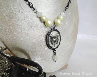 Schwarze Katze Glas Cab antike Zeitschrift Illustration viktorianischen gotischen Gypsy Boho heimgesucht Halskette