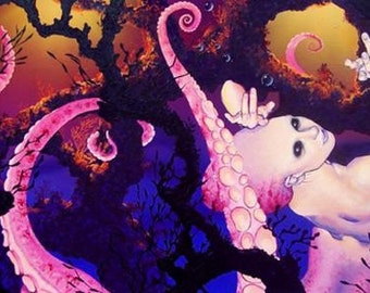 RW2 Signed Limited Edition Print Octopuss Mermaid Art Surrealism