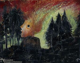Aurora Borealis  - original painting - on paper A4 21x29,7 cm