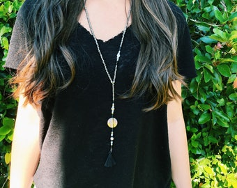 Mini Tassel Necklace / Tassel Lariat / Beaded Tassel Necklace / Tassel Necklace