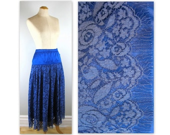 Vintage 80s Lace and Satin Skirt by Crisca in blues
