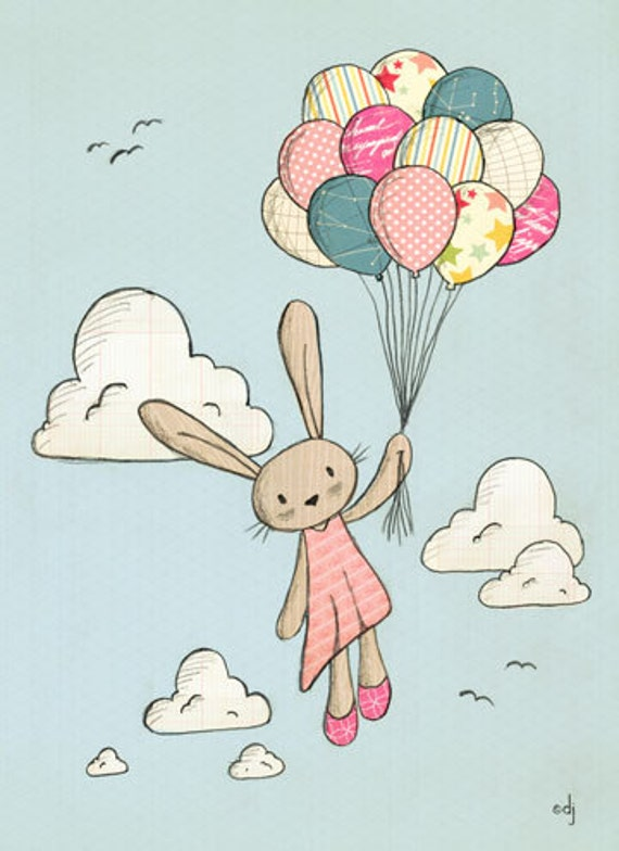 Floating in the Clouds - Rabbit with Balloons Print