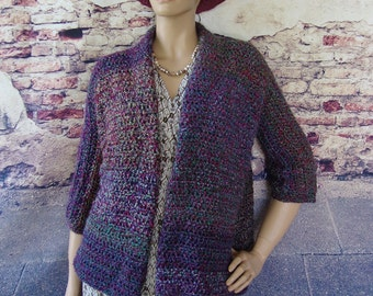Crochet Cardigan, Sweater Coat, Crochet Jacket Cardigan, Purple Cardigan, Cardigan, Mystical Stripes, Available in S/M, L/Xl and 1X/2X