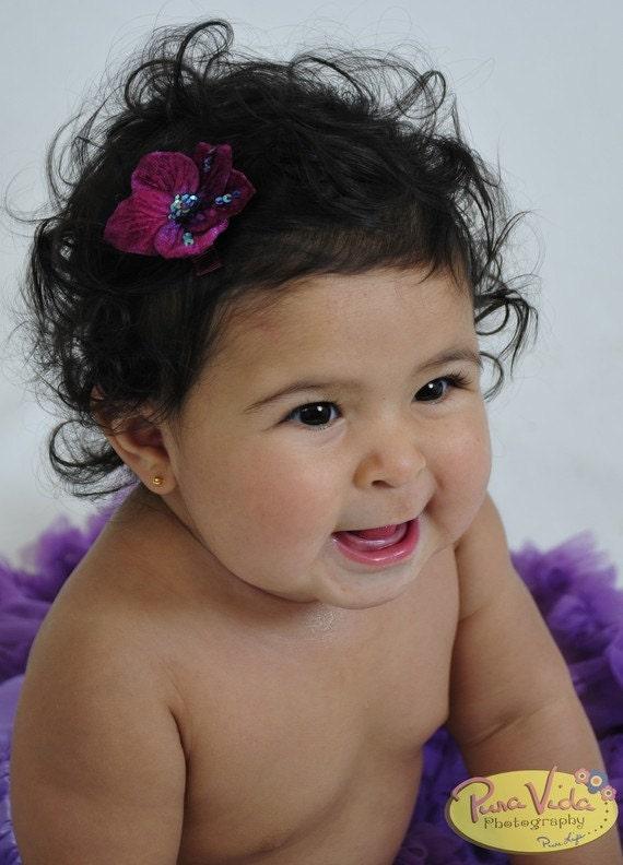 Eggplant Purple Flower Hair Clip for Little Girl/Dark Purple