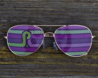 Pretty Lights Graphic Aviator Sunglasses