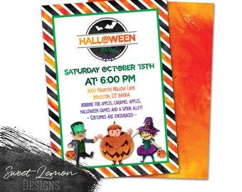 Kids Costume Halloween Party Frankenstein Witch Pumpkin Watercolor
