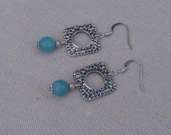 Blue Quartz gemstone and silver chandelier earrings