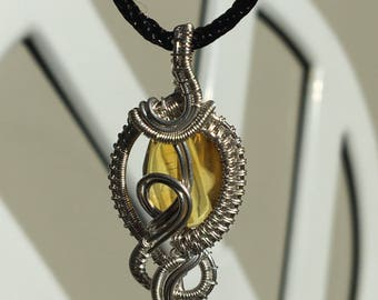 Chiapas Amber & Sterling Silver Filled Wire Wrapped Pendant