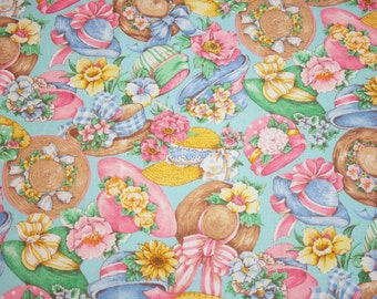 Garden Fabric   Charming Vintage-style Garden Hats and Flowers New OOP Fabric, Aqua Background -  2 Pieces, 1.75 Yards Total