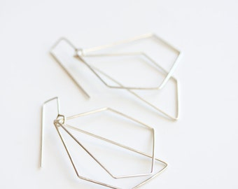 Geometric earrings, dangle earrings, sterling silver, modern, minimal jewelry, eco friendly - The Geometry of the Heart Earrings