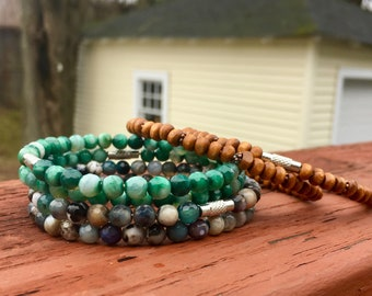 Mixed Faceted Agate & Wood Beaded Stack Bangles
