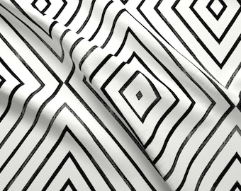 Geo Fabric - Diamond-Stripe-Mod By Crystal Walen Abstract Geometric Monochrome Gem Black White - Cotton Fabric By The Yard With Spoonflower