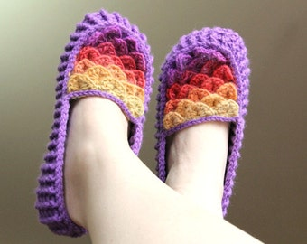 CROCHET PATTERN: Crocodile Stitch Loafers (Adult Sizes) - Permission to Sell Finished Product