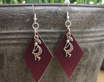 Burgundy/Red Vegan Faux Leather with Aztec Theme Charms