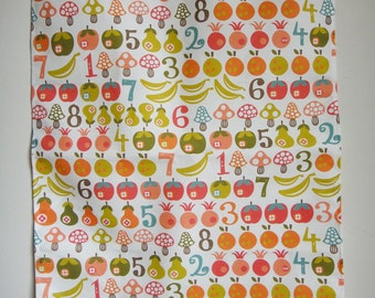 "Linen-Cotton Tea Towel ""Fruit & Mushroom Count"" Scandinavian Home Decor Wall Art Placemat Cloth Floral Folk Midcentury Retro Vintage"