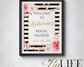 Floral et or rayé Bridal Shower signe bienvenu imprimable bricolage no. I267