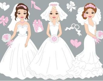 Brides Wedding Clipart - Digital Vector Bride, Wedding, Love, Romantic, Girl Clip Art