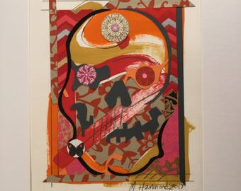 """12""""x16"""" matted Painting and collage on paper """"Sugar Punk Skull pink/orange series #6"""" 2017"""