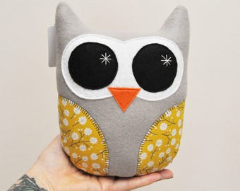 Light Gray Plush Owl With Yellow Floral Wings - READY TO SHIP