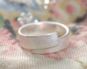 Simple Matt Silver Ring
