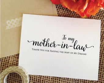 Thank You for RAISING the man of my dreams wedding card mother in law wedding gift Mother-In-Law Gift mother of the groom gift from bride
