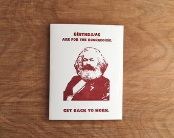 Marx Birthday Card Bourgeoisie Funny Letterpress Greeting Card Political Parody Cards
