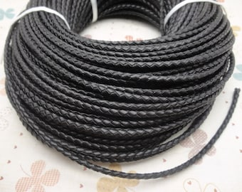 50 METERS 3mm black Braid REAL LEATHER necklace cord / one role