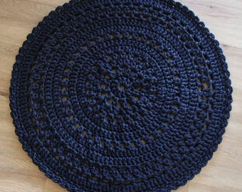 Crochet Floor Rug 80cms- custom made various colours available-shirt Yarn-