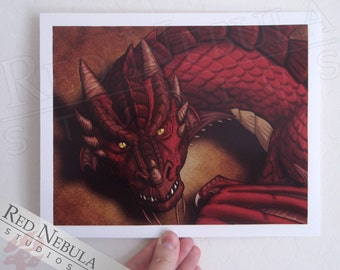 Clearance! 8.5x11 Red Dragon Portrait, Fantasy Art Print, Dragon Wall Art, Dragon Illustration, Red Scaly Dragon, Slitted Yellow Eyes