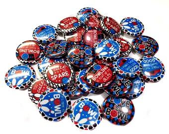 """Bowling Buttons, 1"""" Buttons, Bowling, Bowling Party Favors, Bowling Pins, Bowling Flatbacks, Bowling Parties, Bowling Pin, Bowling Theme"""