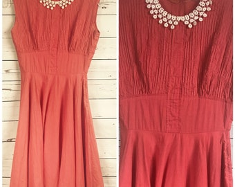 50's coral cotton sundress with crochet Peter Pan collar - small 40's 50's dress - vintage peach cotton dress
