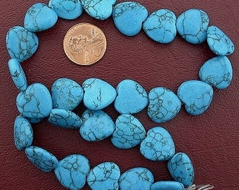15mm heart gemstone synthetic turquoise bead