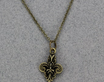 Handmade Necklace Fleur de Lis in Bronze Pewter  20 Inch Gold Brass Necklace Lobsterclaw Closure  Oscarcrow