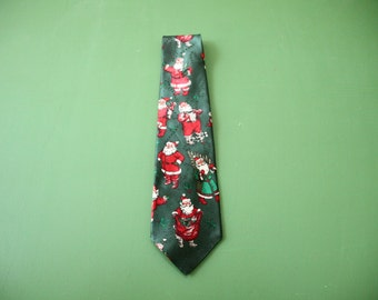 Retro Santa Neck Tie [Vintage Men's Christmas Wide Retro Dress Up Gift For Him Tie] 59 inch long
