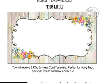 DYI Blank Business Card Template - The LuLu, Made to Match Etsy Sets and Facebook  Covers, Business Card Template, Made to Match