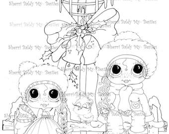 Descarga inmediata Digi sellos ojo grande Big Head Dolls Digi Bestie navideños de aves por Sherri Baldy