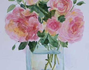 Roses Original Watercolour art painting 12x18 in Botanical illustration floral watercolour flowers fine art home decor