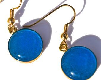 Aqua Blue Recycled Glass Earrings