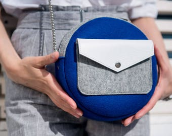 Navy Blue White Gray Wool Felt Genuine Leather Round Bag