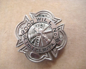 Vintage Obsolete Defunct Goodwill Fire Co. #5 Bethlehem,Pa. Hat Badge